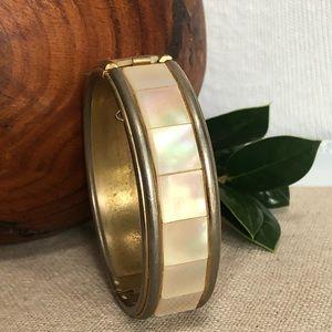 Vintage Mother of Pearl Gold-tone Bangle  Bracelet